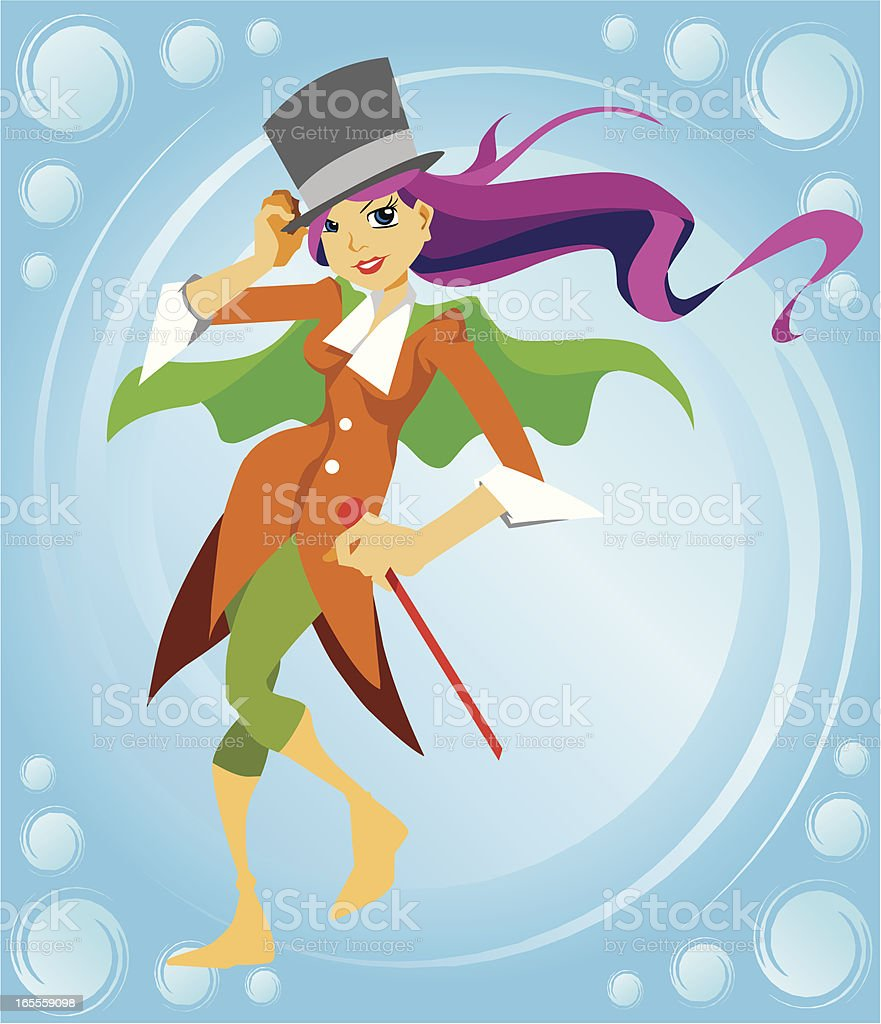 Magician Girl Cartoon Character vector art illustration
