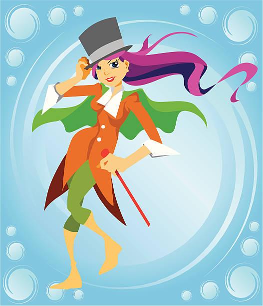 Magician Girl Cartoon Character vector art illustration