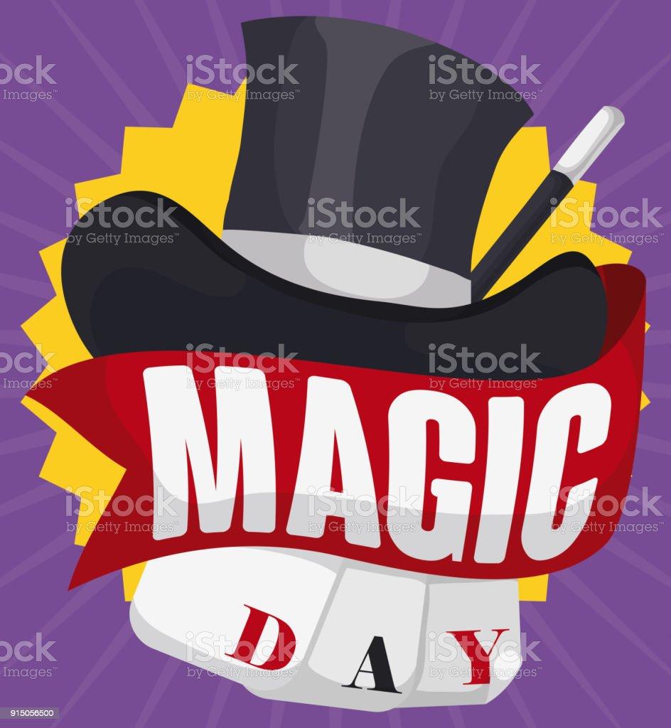 Ilustración de Sombrero De Mago Varita Cintas Y Tarjetas Para La ... d72ce42b3a6