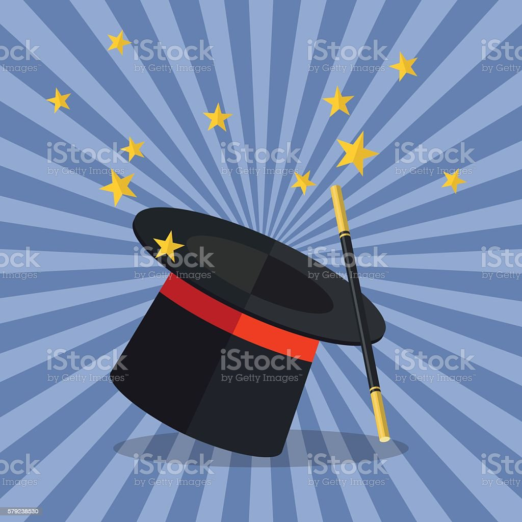 Magician Hat with Magician Wand vector art illustration