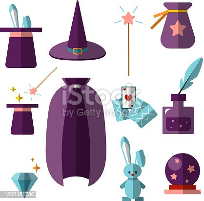 magician illusionist vector flat set with fabulous items - magic hat, rabbit, wand, cards, cristal ball and other magical elements for halloween, illusionist party isolated on white