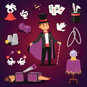 Magician illusionist vector set.