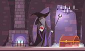 Evil magician in wicked witch hat with power ball treasure chest in dark castle chamber cartoon vector illustration
