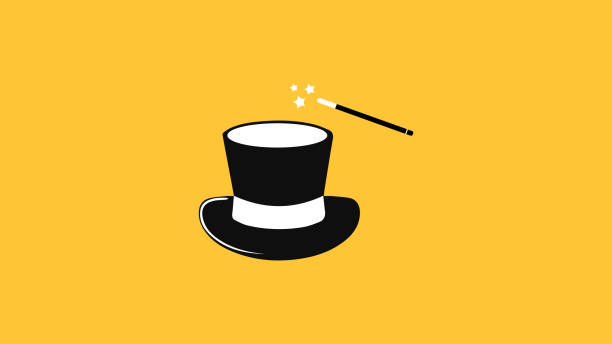 Magician Magic Wand and Hat Magician Magic Wand and Hat stunt stock illustrations