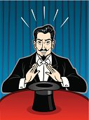 Great illustration of a classical magician performing with his hat. Perfect for a magic show illustration. EPS and JPEG files included. Be sure to view my other illustrations, thanks!