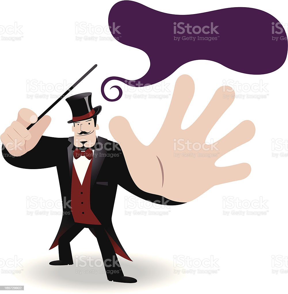 Magician performing tricks with a magic wand royalty-free stock vector art