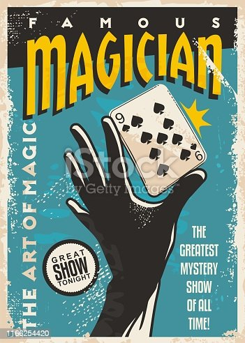 Magician poster design with hand silhouette and playing cards. Magic tricks show retro flyer template on blue background. Vector vintage illustration.