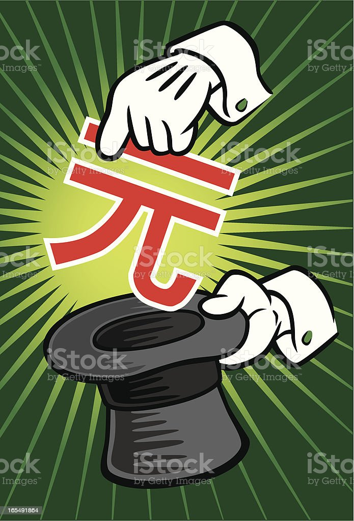 Magician Pulling Yuan From Hat royalty-free magician pulling yuan from hat stock vector art & more images of abundance