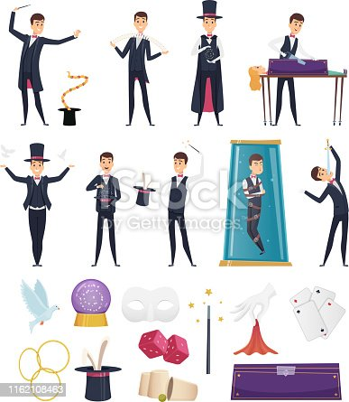 Magician. Show performer in costume and items cards rabbit in hat magic handkerchiefs wand cards steel deck vector cartoons. Showman illusionist, magician performing show, performer illustration
