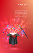 Magician Top hat with fireworks from confetti. vector