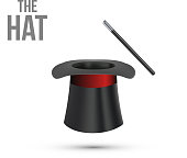 Magician Top Hat with stick. Vector