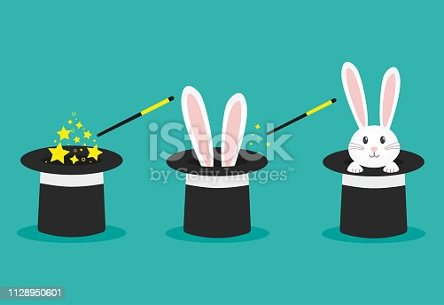 istock Magician's black hat, magic hat with bunny ears. Vector flat illustration in cartoon style. 1128950601