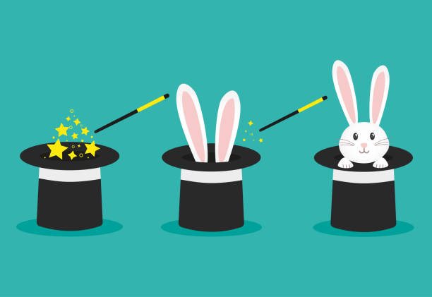 Magician's black hat, magic hat with bunny ears. Vector flat illustration in cartoon style. Magician's black hat, magic hat with bunny ears. Vector flat illustration in cartoon style. rabbit stock illustrations