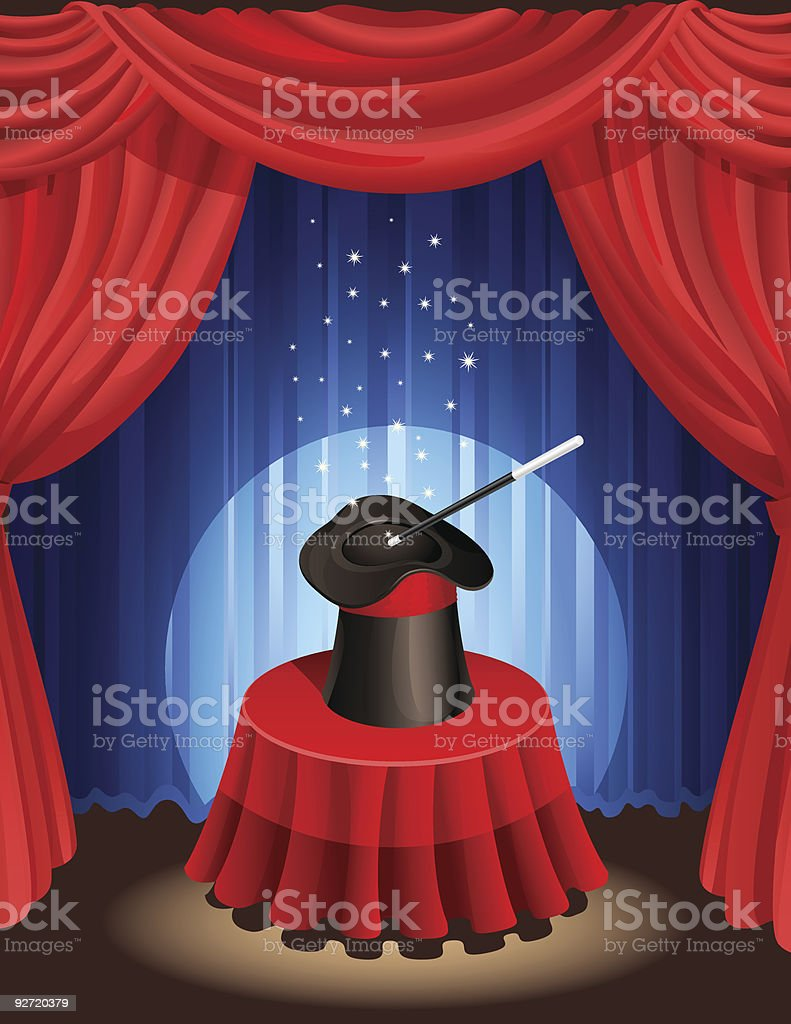Magician's hat and wand on a stage table royalty-free stock vector art