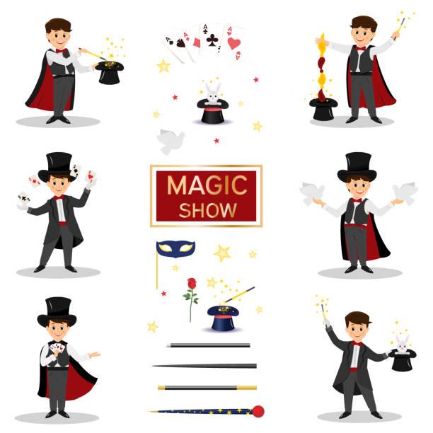 stockillustraties, clipart, cartoons en iconen met . goochelaars met duiven, speelkaarten, - goocheltruc