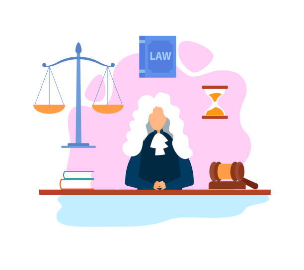 Magistrate in Courtroom Flat Vector Illustration Magistrate in Courtroom Flat Vector Illustration. Judge Cartoon Character Wearing Wig and Gown. Supreme Court, Tribunal. Hourglass, Scales, Gavel, Legal Book. Legislative Authority, Justice supreme court stock illustrations