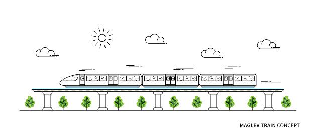 Maglev rail train vector illustration