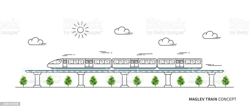 Maglev rail train vector illustration vector art illustration