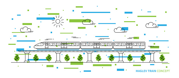 Maglev rail train vector illustration with colorful elements