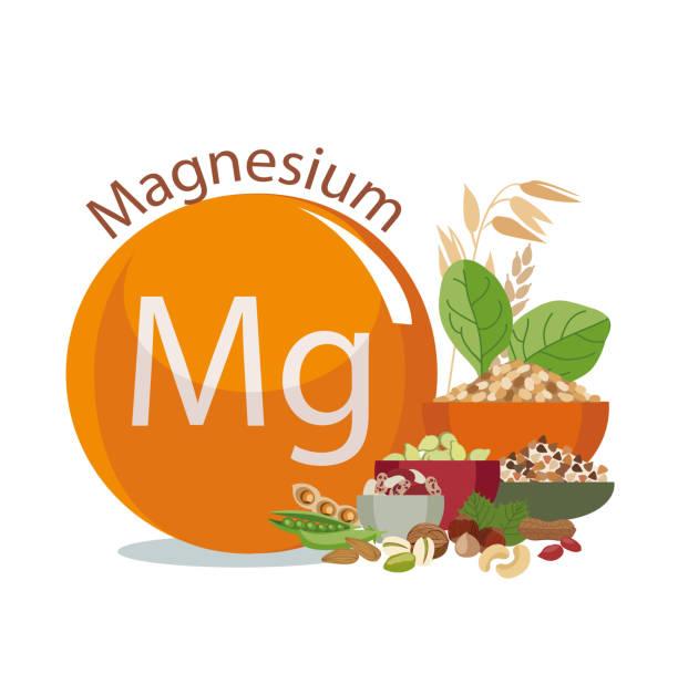 stockillustraties, clipart, cartoons en iconen met magnesium in het voedsel. - spoorelement