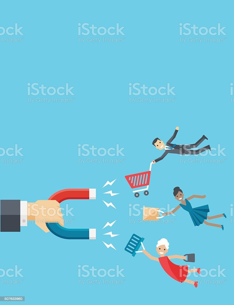 Magnet attracting happy customers with shopping carts vector art illustration