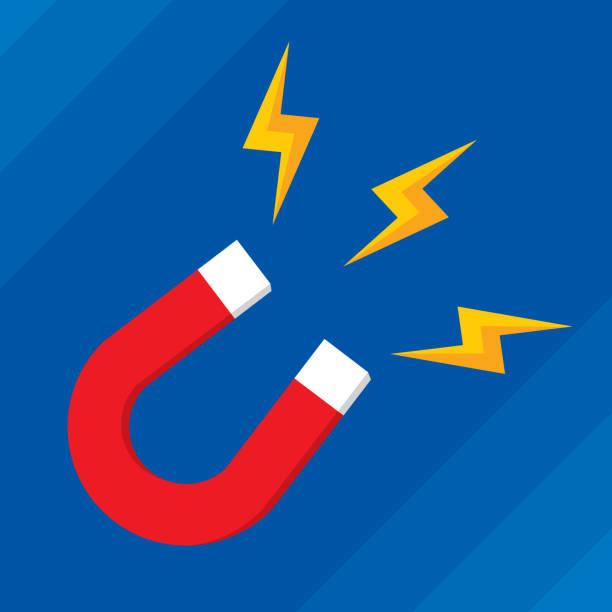 Magnet Flat Vector illustration of a magnet with lightning bolts against a blue background in flat style. magnet stock illustrations