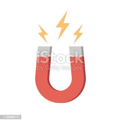 Magnet icon isolated on white background. Vector illustration. Eps 10.