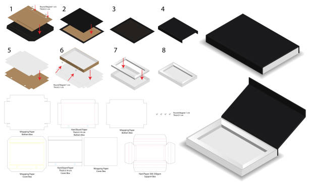 magnet lock rigid box 3d mockup with dieline vector art illustration