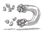Hand-drawn vector drawing of a Magnet Pulling Money Coins. Black-and-White sketch on a transparent background (.eps-file). Included files are EPS (v10) and Hi-Res JPG.