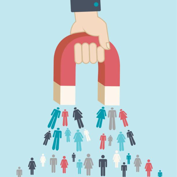 Magnet pulling people for inbound lead generation for digital marketing symbol Magnet pulling people for inbound lead generation -a digital marketing symbol sales occupation stock illustrations