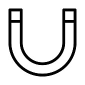 magnet Vector Thin Line Icon