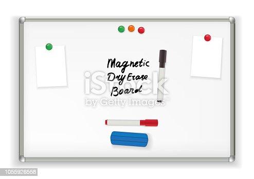 Magnetic Dry Erase Board. Marker whiteboard School Office vector illustration