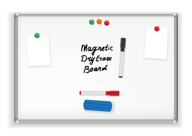 ilustraciones, imágenes clip art, dibujos animados e iconos de stock de tablero magnético de borrado seco. marcador pizarra oficina - pizarra blanca