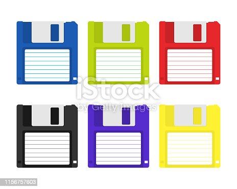 Magnetic floppy disc. Flat icon. Vector illustration.