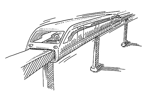Magnetic Monorail Transport System Drawing