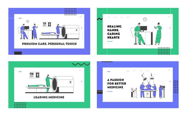 Magnetic Resonance Imaging and Surgeon Operation in Hospital Website Landing Page Set. Professional Doctors in Clinic Work with Patients on Mri Machine Web Page Banner Cartoon Flat Vector Illustration Magnetic Resonance Imaging and Surgeon Operation in Hospital Website Landing Page Set. Professional Doctors in Clinic Work with Patients on Mri Machine Web Page Banner Cartoon Flat Vector Illustration scientific imaging technique stock illustrations