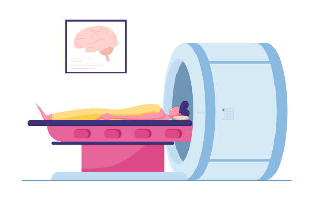 Magnetic Resonance Imaging Digital Technology in Medicine Diagnostic Concept. Medical Health Care, Male Character Patient Lying at Mri Scanner in Clinic or Hospital. Cartoon Flat Vector Illustration Magnetic Resonance Imaging Digital Technology in Medicine Diagnostic Concept. Medical Health Care, Male Character Patient Lying at Mri Scanner in Clinic or Hospital. Cartoon Flat Vector Illustration image stock illustrations