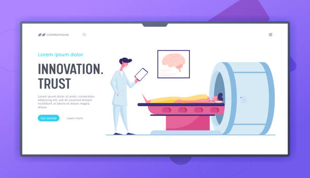 Magnetic Resonance Imaging Digital Technology in Medicine Diagnostic Website Landing Page. Patient Lying Down on Mri Scan Machine with Doctor Stand beside Page Banner. Cartoon Flat Vector Illustration Magnetic Resonance Imaging Digital Technology in Medicine Diagnostic Website Landing Page. Patient Lying Down on Mri Scan Machine with Doctor Stand beside Page Banner. Cartoon Flat Vector Illustration scientific imaging technique stock illustrations