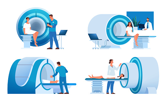 Magnetic resonance imaging. Medical research and diagnosis. Modern tomographic scanner.