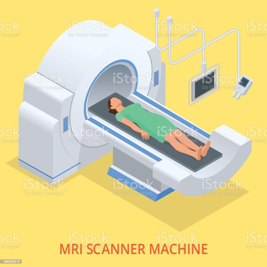 Magnetic resonance imaging MRI of the body. Flat isometric illustration. Medicine diagnostic concept vector art illustration