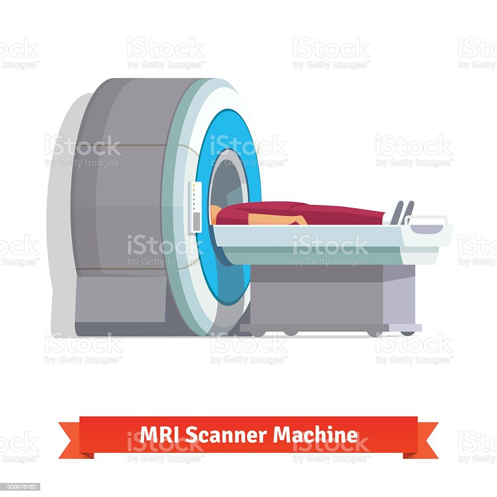 MRI, magnetic resonance imaging scanning patient vector art illustration