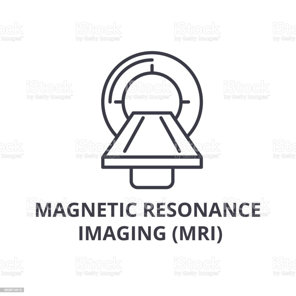 magnetic resonance imaging (mri) thin line icon, sign, symbol, illustation, linear concept, vector vector art illustration
