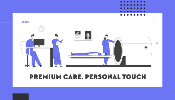 Magnetic Resonance Imaging Website Landing Page. Doctor Looking at Results of Patient Brain Scan on Screen in Front of Mri Machine with Man Lying Down Web Page Banner. Cartoon Flat Vector Illustration Magnetic Resonance Imaging Website Landing Page. Doctor Looking at Results of Patient Brain Scan on Screen in Front of Mri Machine with Man Lying Down Web Page Banner. Cartoon Flat Vector Illustration scientific imaging technique stock illustrations
