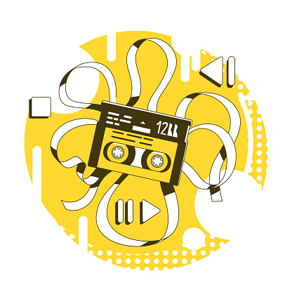 Magnetic tape thin line concept vector illustration
