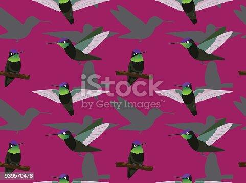 Magnificent Hummingbird Poses Cartoon Seamless Wallpaper Stock Vector Art More Images Of Animal 939570476