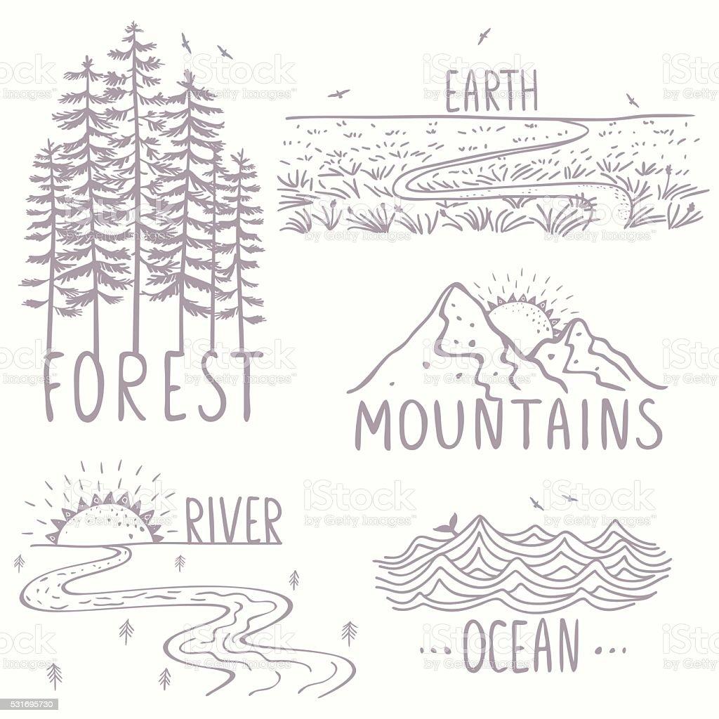 Herrliche Natur satz – Vektorgrafik