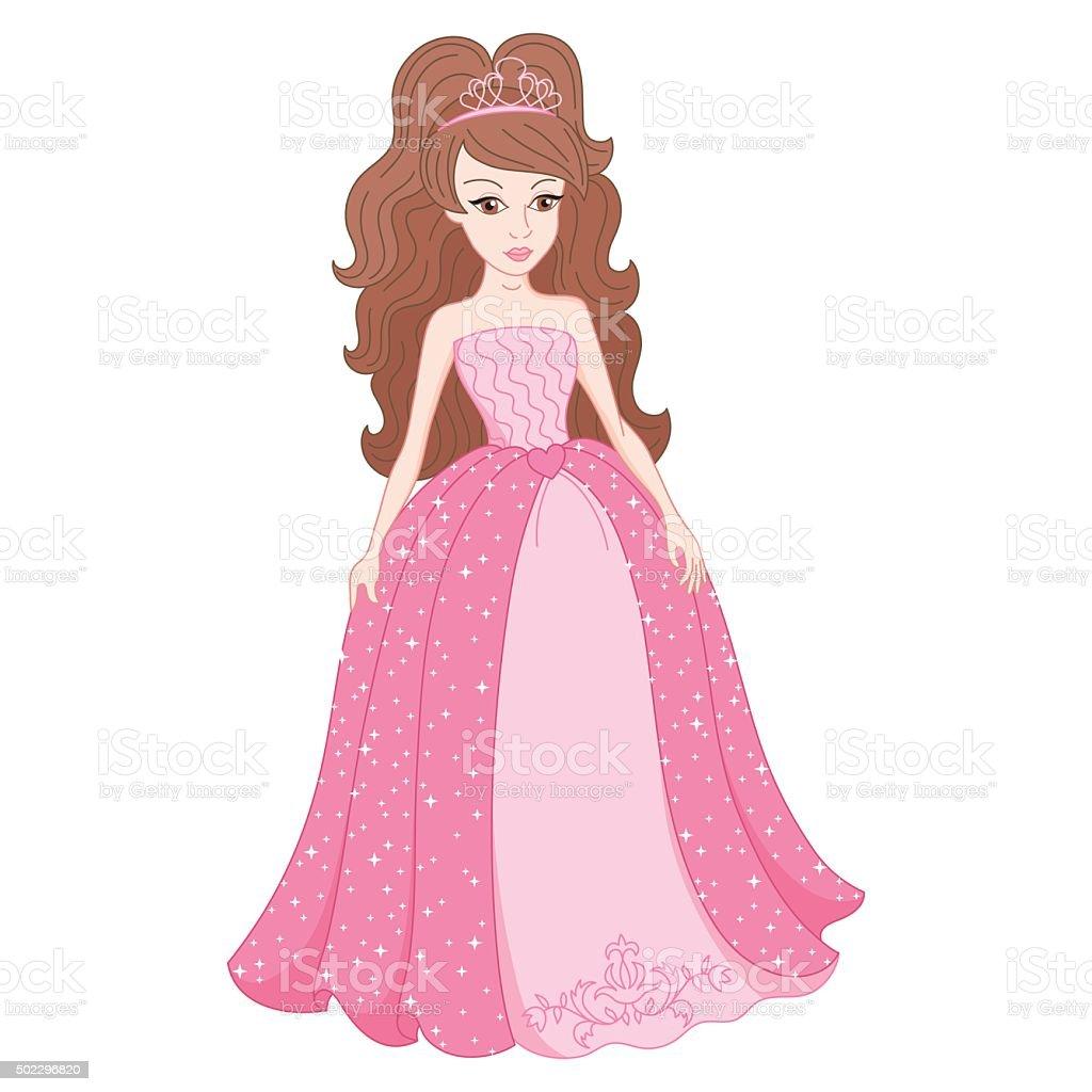 Princesa no maravilhoso vestido rosa com spangles suave - ilustração de arte vetorial