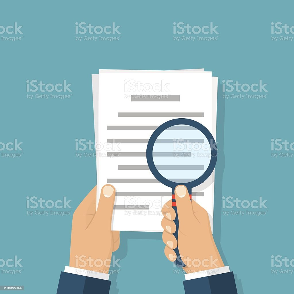Magnifier and paper document vector art illustration