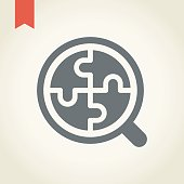 Magnifier and puzzle icon,vector illustration.