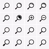 Magnifier Glass and Zoom Icons